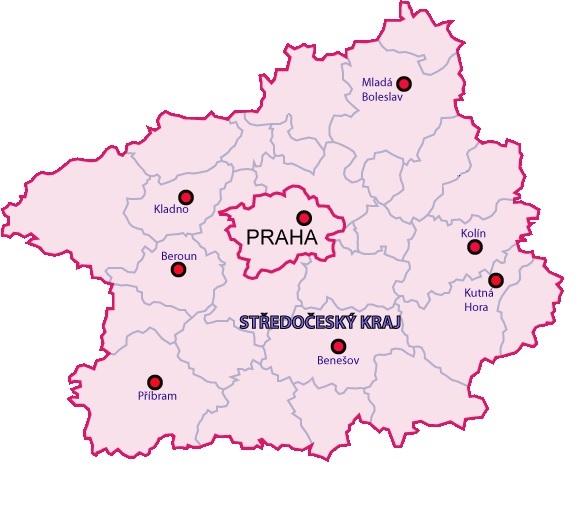 Mapa - střední čechy